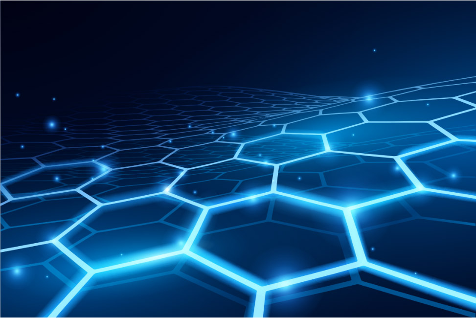 Layers of glowing, connected hexagons