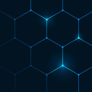 Glowing, connected hexagons